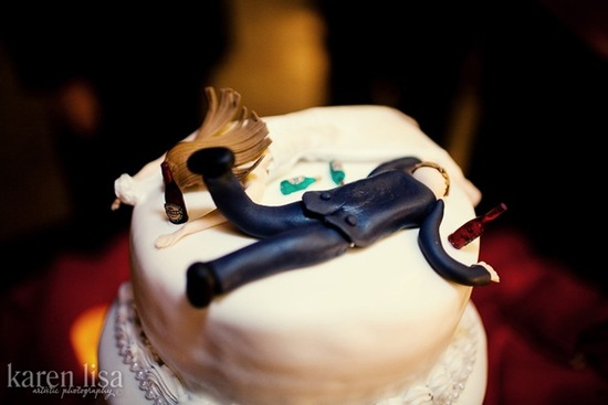 photo of drunken bride groom wedding cake topper
