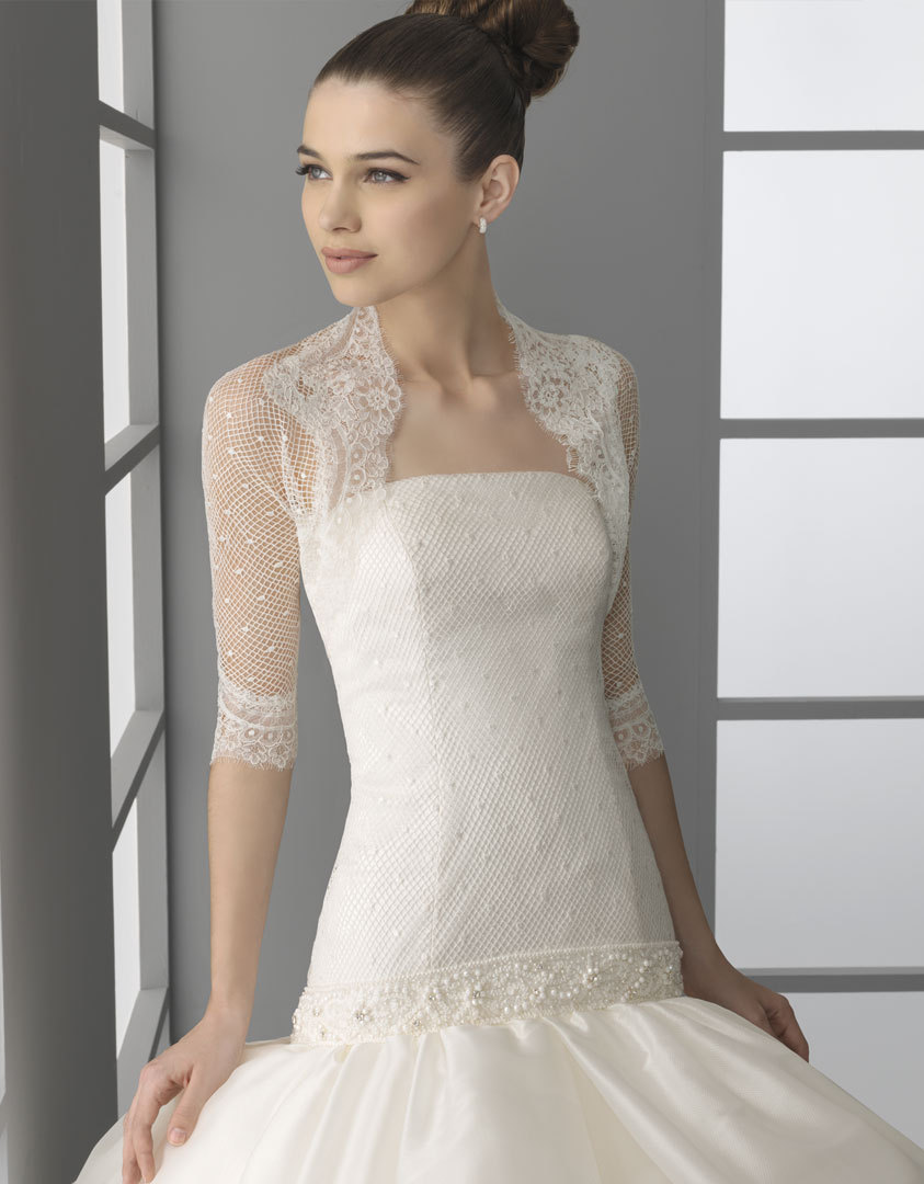Lace dot wedding top sheer wedding dress coverup for Best lace wedding dresses