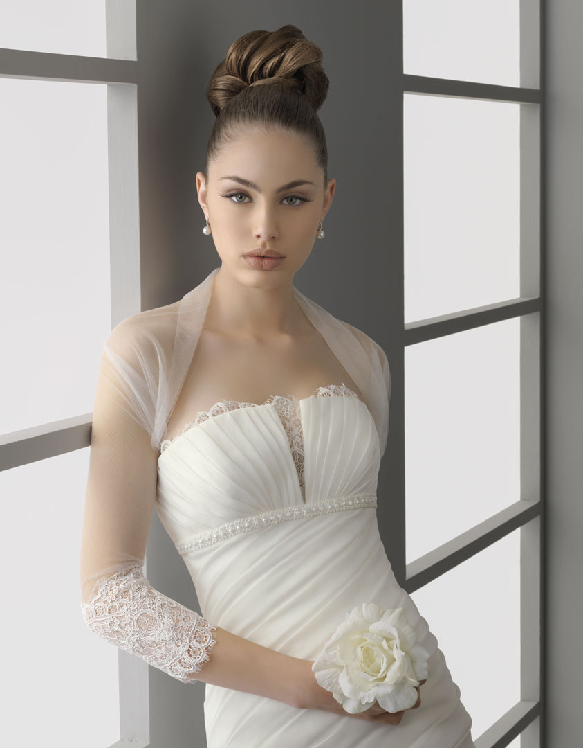 Sheer bridal bolero three quarter length sleeves lace for Wedding dress with shrug