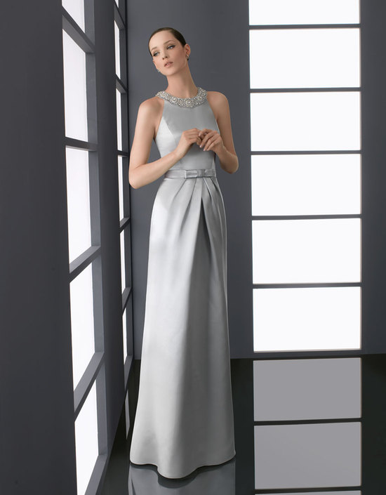 elegant silver bridesmaid dress high neck beading with bow