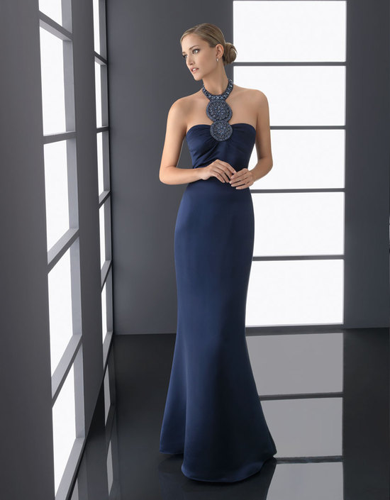 navy blue bridesmaid dress elegant statement neckline