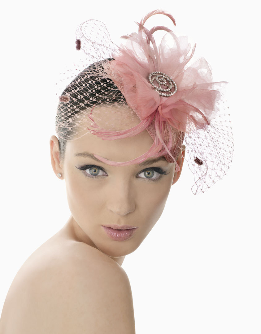 pink wedding headdress feathers net