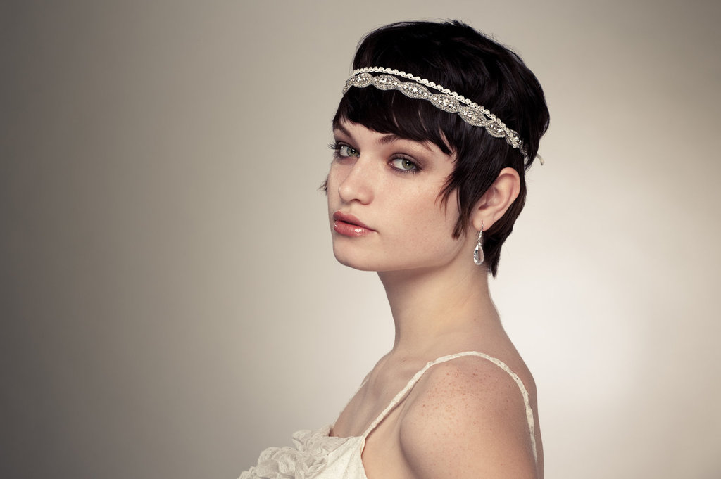 bridal headband short hair brides