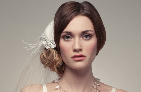 Romantic wedding hair with bridal veil & ivory hair flower