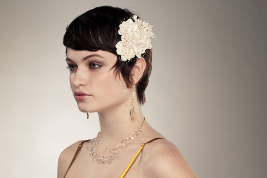 vintage inspired wedding hair accessory ivory flower with net