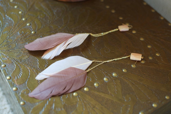 feather wedding jewelry bridal bridesmaid earrings nude ivory feathers