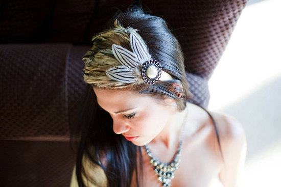 funky wedding hair accessory bridal headband feather adorned