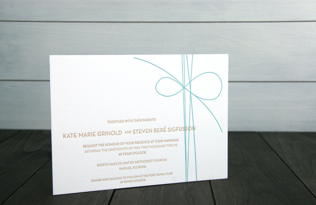 simple wedding invitations bow adorned white teal gold