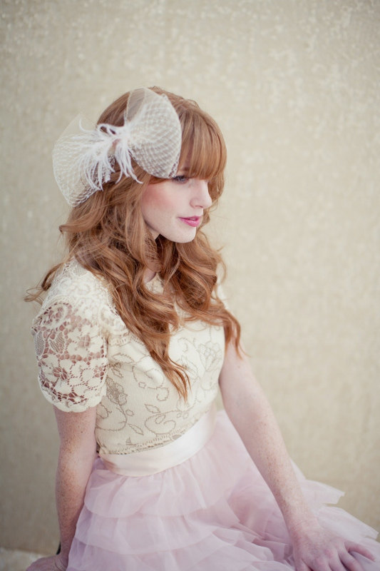 photo of Dramatic bridal bow hair accessory