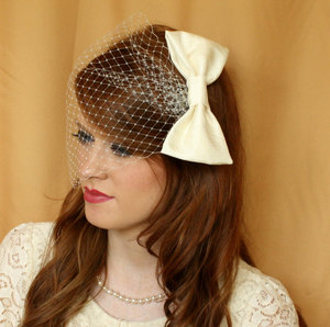 photo of Ivory satin birdcage veil with bow
