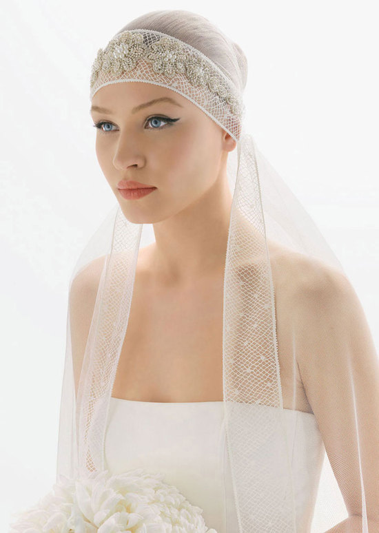 romantic bridal veils by rosa clara bridal hair wrap beaded floral motif