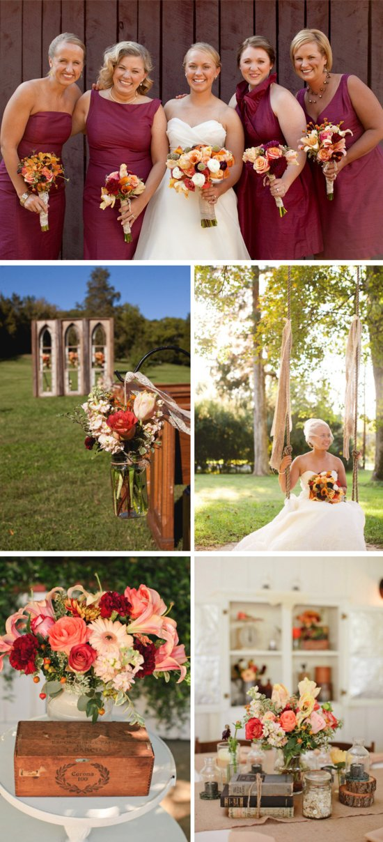 outdoor country western themed wedding colorful wedding flowers centerpieces maroon bridesmaids dres