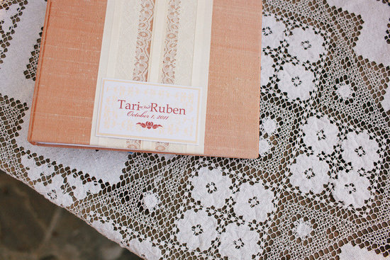 romantic outdoor wedding lace decor guest book peach ivory white