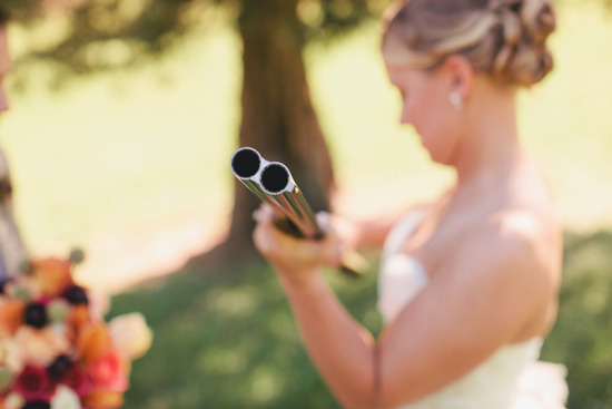 romantic outdoor wedding lace decor bride with gun