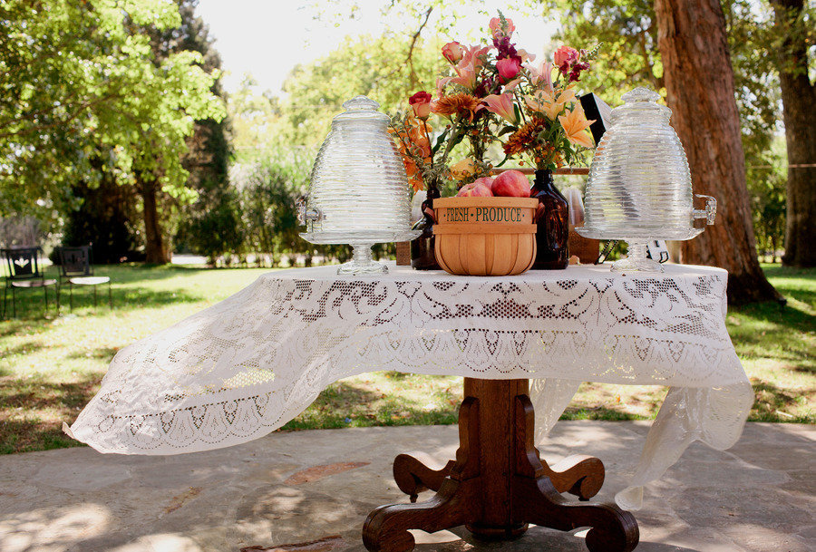 romantic outdoor wedding lace decor fruit incorporated in centerpieces