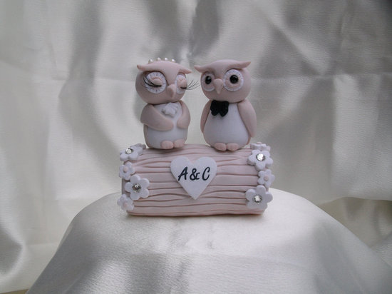 photo of Romantic owl wedding cake topper