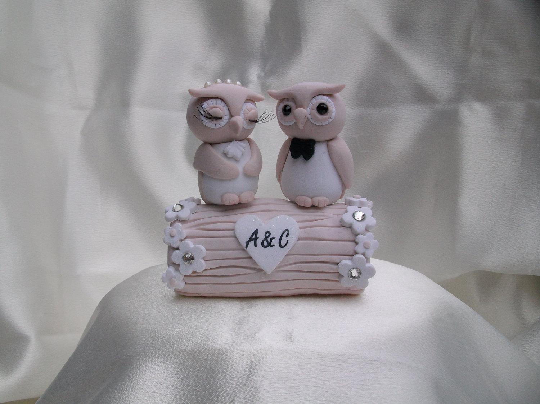 Cute Wedding Cake Toppers Owl Bride Groom Light Pink
