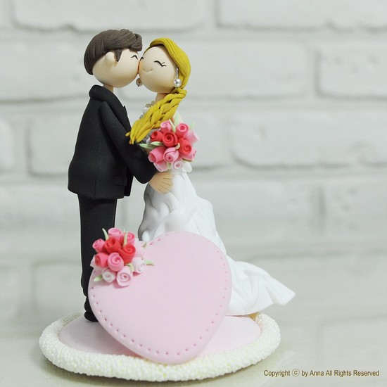 cute wedding cake topper bride groom clay