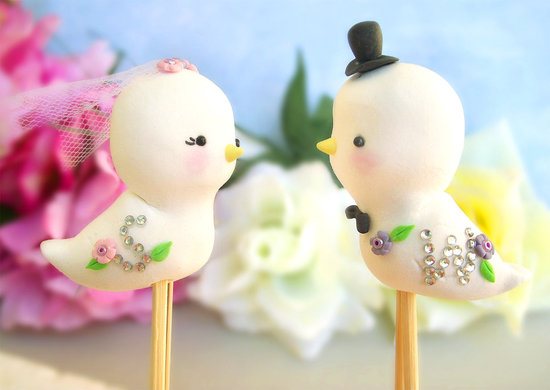 photo of Embellished love birds cake topper
