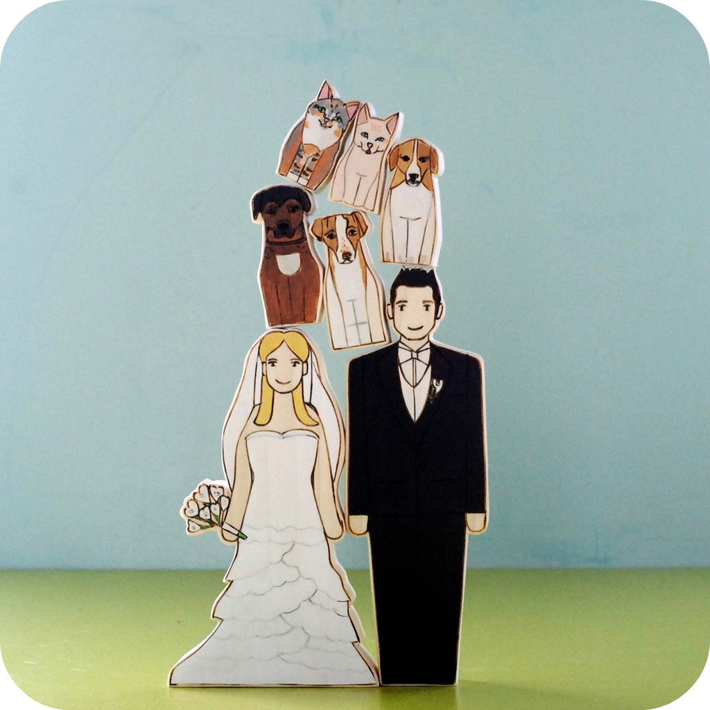 adorable wedding cake toppers handmade wedding Etsy dog lovers