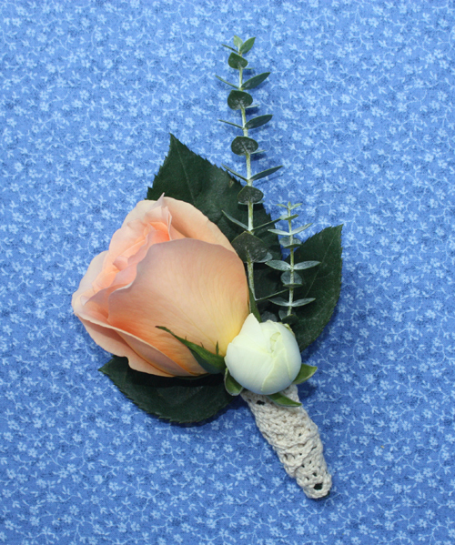 DIY Grooms Boutonniere lace wrapped peach rose