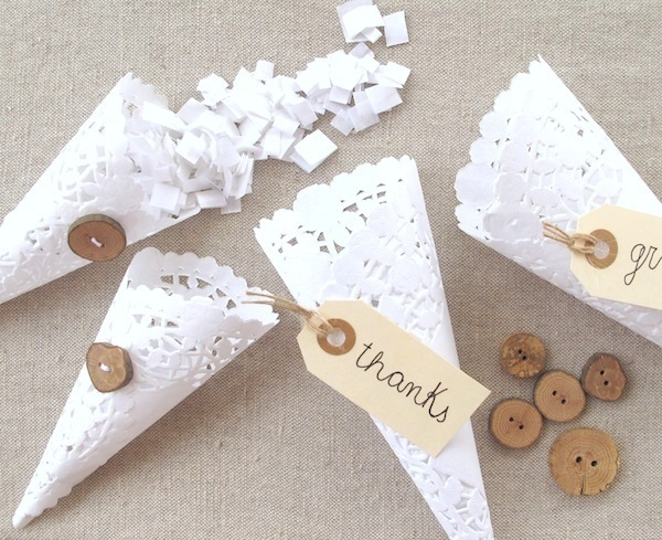 Wedding Ceremony Exit Lace Confetti Cones For Guests