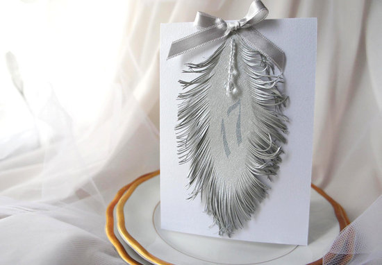 photo of Silver feather wedding table numbers