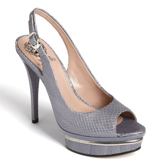 photo of Silver and grey platform wedding shoes