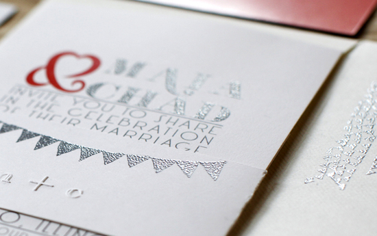 Red Silver DIY Wedding Invitations Detail