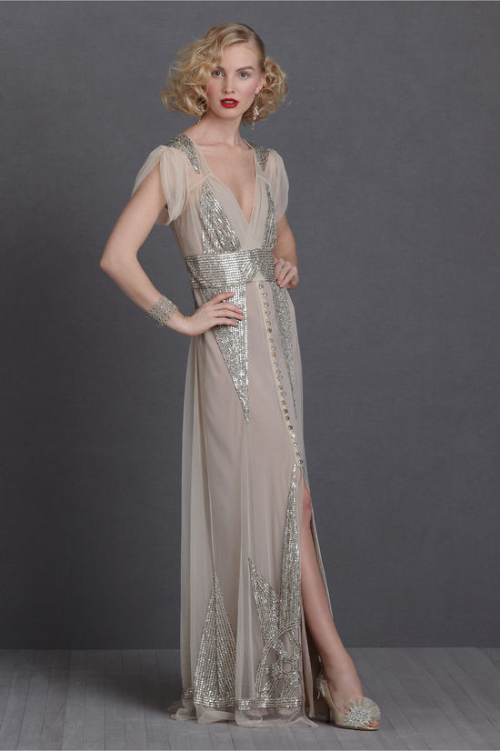 silver gold sequin adorned wedding dress BHLDN bridal gown 2012