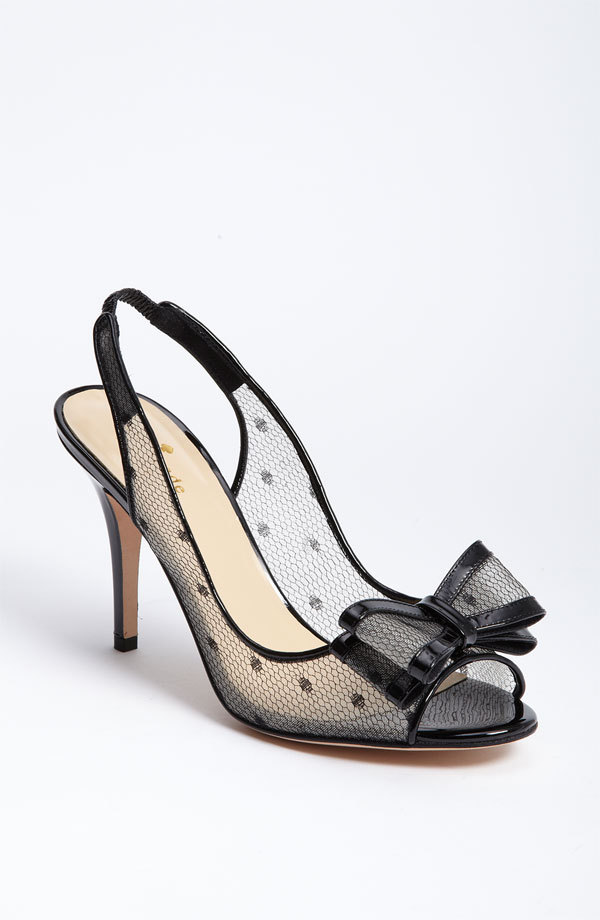 photo of sheer bridal heels black polka dot kate spade