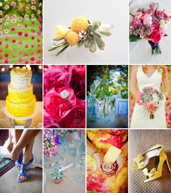 colorful wedding inspiration hot pink yellow soft green periwinkle