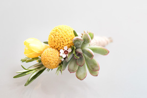 photo of eco friendly grooms boutonniere