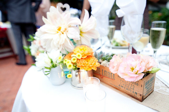 romantic outdoor wedding spring wedding flowers centerpieces 1