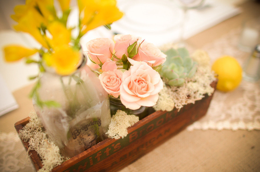 spring wedding romantic reception venue decor pink roses succulents wedding flower centerpieces