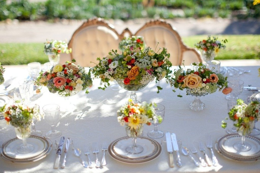 Romantic Spring Garden Wedding Flowers Reception Centerpieces 1