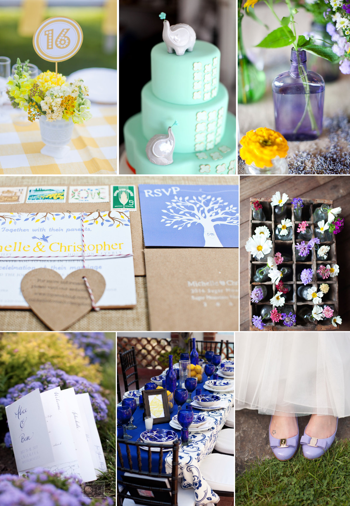 wedding color inspiration lavender seafoam lemon cobalt ...