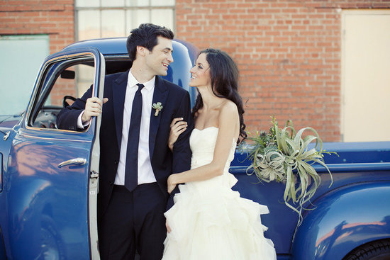 bride groom smile outside vintage wedding car something blue