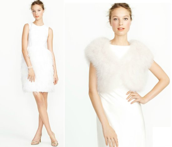 2012 j crew wedding dress for reception fur bridal shrug