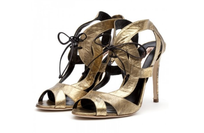 gilded gold wedding shoes