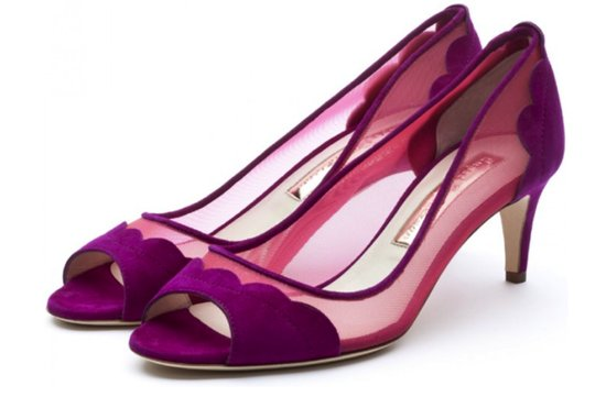 splurge worthy wedding shoes purple berry illusion details