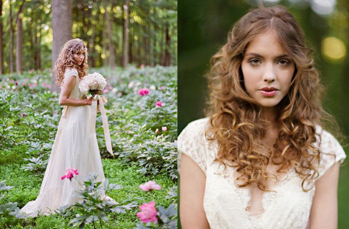 Romantic bohemian bride outdoor wedding lace bridal gown for Romantic bohemian wedding dresses