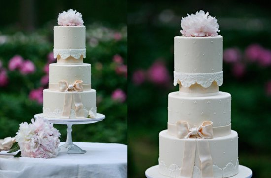 Elegant wedding cake with bow lace applique