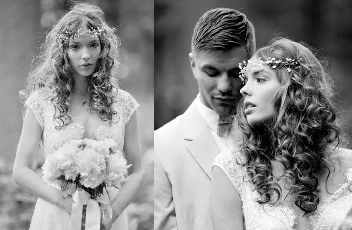 romantic garden wedding black and white bride groom embrace