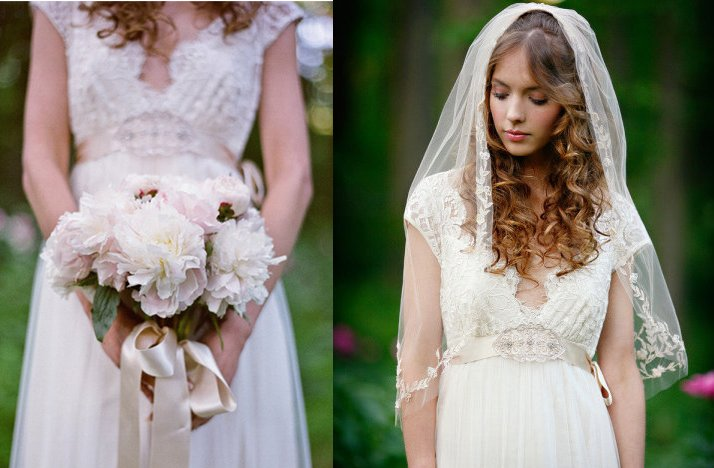 Lace Wedding Dress And Veil : Romantic garden wedding bride wears lace veil v neck