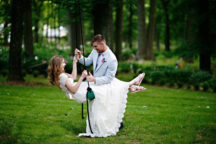 romantic spring wedding outdoor venue bride groom 2
