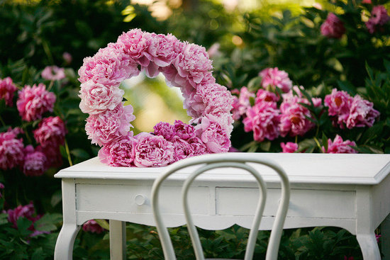 Spring wedding outdoor venue with pink peony wedding flower decorations
