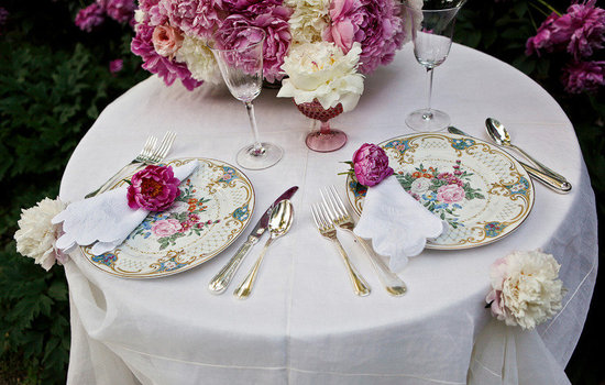 romantic spring wedding outdoor venue sweetheart table vintage china