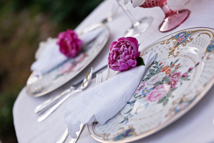 romantic spring wedding outdoor venue antique china place setting at reception