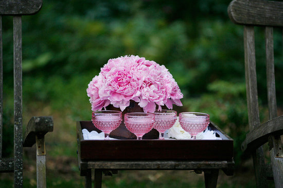 romantic spring wedding outdoor venue pink peony centerpieces signature cocktails
